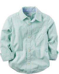 Chemise à manches longues vert menthe