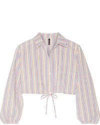 Chemise à rayures verticales blanche Lisa Marie Fernandez