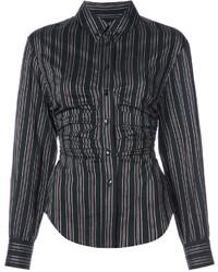Chemise à rayures verticales noire Isabel Marant