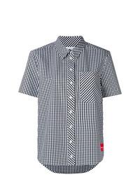 Chemise boutonnée à manches courtes à carreaux blanche Calvin Klein Jeans