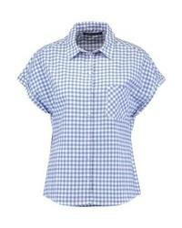 Chemise boutonnée à manches courtes à carreaux bleu clair Expresso