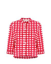 Chemise boutonnée à manches courtes à carreaux rouge Marni