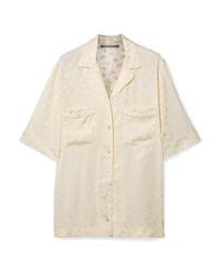 Chemise boutonnée à manches courtes à fleurs beige Stella McCartney