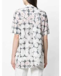 Chemise boutonnée à manches courtes à fleurs blanche MM6 MAISON MARGIELA