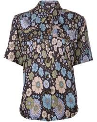 Chemise boutonnée à manches courtes à fleurs bleue marine Marc Jacobs