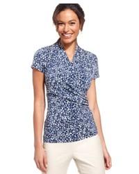 Chemise boutonnée à manches courtes à fleurs bleue