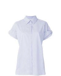Chemise boutonnée à manches courtes à rayures verticales bleu clair