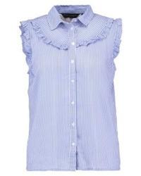 Chemise boutonnée à manches courtes à rayures verticales bleu clair Dorothy Perkins