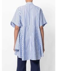Chemise boutonnée à manches courtes à rayures verticales bleu clair Henrik Vibskov