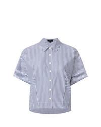 Chemise boutonnée à manches courtes à rayures verticales bleu clair Theory