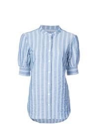 Chemise boutonnée à manches courtes à rayures verticales bleu clair Veronica Beard