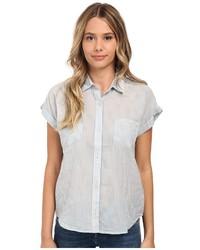 Chemise boutonnée à manches courtes à rayures verticales grise