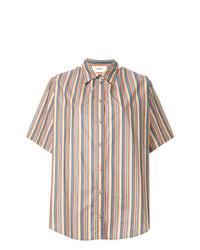 Chemise boutonnée à manches courtes à rayures verticales multicolore Ports 1961