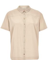 Chemise boutonnée à manches courtes beige