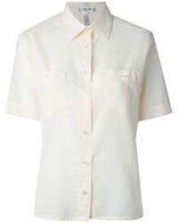 Chemise boutonnée à manches courtes beige Celine