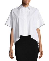 Chemise boutonnée à manches courtes blanche Alice + Olivia