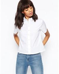 Chemise boutonnée à manches courtes blanche Asos