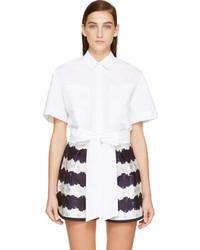Chemise boutonnée à manches courtes blanche MSGM