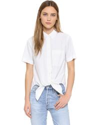 Chemise boutonnée à manches courtes blanche Theory