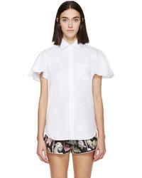 Chemise boutonnée à manches courtes blanche Valentino