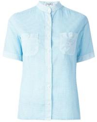 Chemise boutonnée à manches courtes bleu clair