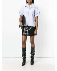 Chemise boutonnée à manches courtes bleu clair T by Alexander Wang