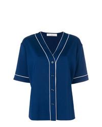 Chemise boutonnée à manches courtes bleu marine Golden Goose Deluxe Brand