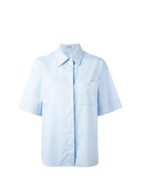 Chemise boutonnée à manches courtes bleue claire Lanvin