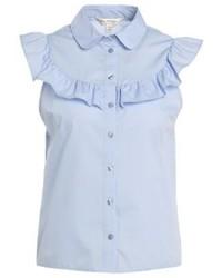 Chemise boutonnée à manches courtes bleue claire Miss Selfridge