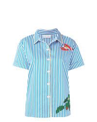 Chemise boutonnée à manches courtes brodée bleu clair Mira Mikati