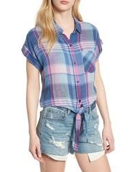 Chemise boutonnée à manches courtes écossaise bleu clair
