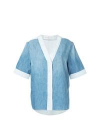 Chemise boutonnée à manches courtes en denim bleu clair