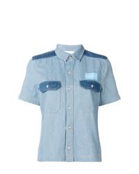 Chemise boutonnée à manches courtes en denim bleu clair Calvin Klein Jeans