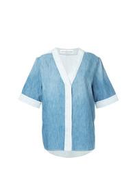 Chemise boutonnée à manches courtes en denim bleu clair Golden Goose Deluxe Brand