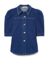 Chemise boutonnée à manches courtes en denim bleu marine See by Chloe