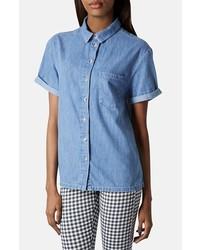 Chemise boutonnée à manches courtes en denim bleue
