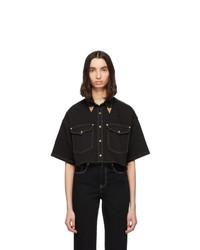 Chemise boutonnée à manches courtes en denim noire