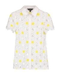 Chemise boutonnée à manches courtes en dentelle à fleurs blanche Dorothy Perkins
