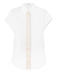 Chemise boutonnée à manches courtes en lin blanche Brunello Cucinelli