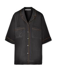 Chemise boutonnée à manches courtes en soie noire Stella McCartney