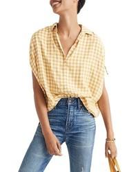 Chemise boutonnée à manches courtes imprimée blanc et jaune