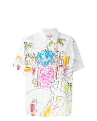 Chemise boutonnée à manches courtes imprimée blanche Marni