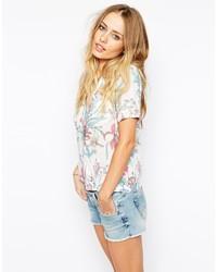 Chemise boutonnée à manches courtes imprimée blanche Pepe Jeans