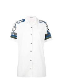 Chemise boutonnée à manches courtes imprimée blanche Tomas Maier