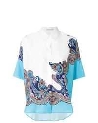 Chemise boutonnée à manches courtes imprimée cachemire blanche Etro
