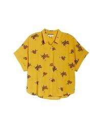 Chemise boutonnée à manches courtes imprimée jaune