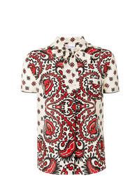 Chemise boutonnée à manches courtes imprimée multicolore