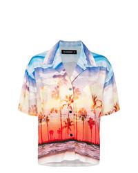 Chemise boutonnée à manches courtes imprimée multicolore Filles a papa