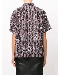 Chemise boutonnée à manches courtes imprimée noire Marni