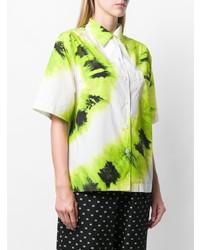 Chemise boutonnée à manches courtes imprimée tie-dye blanche Prada